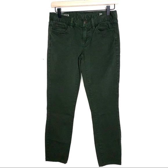 J. Crew pine green matchstick straight leg Jeans